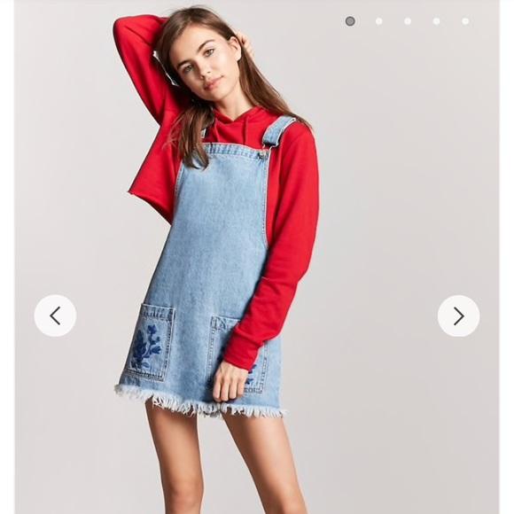 64337f04d83 Forever 21 Dresses   Skirts - Denim Overalls Dress Floral Embroidery